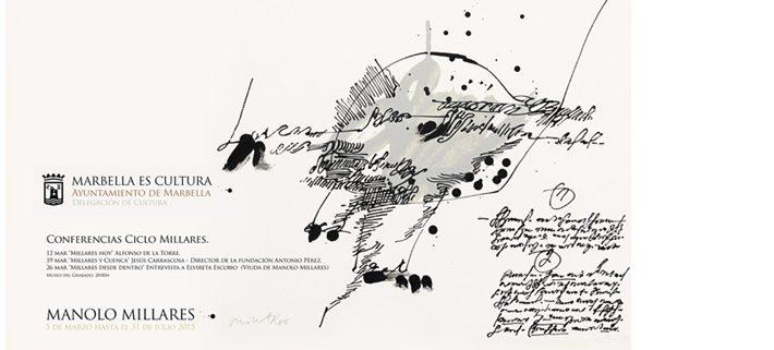 publicidad de exposición del pintor Manolo Millares en Marbella