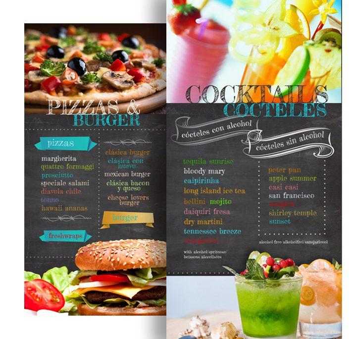 diseño de paneles de gran formato con distintos menús