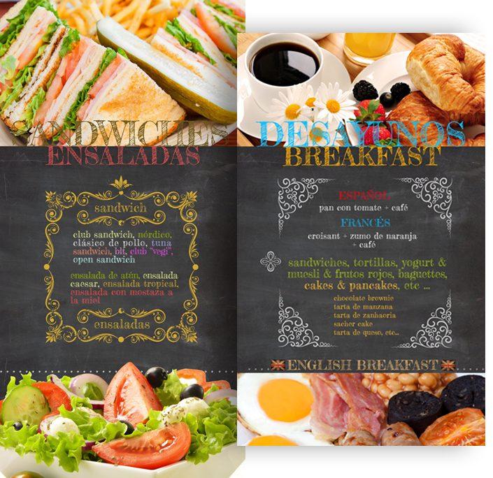 diseño de paneles de desayunos y sandwiches