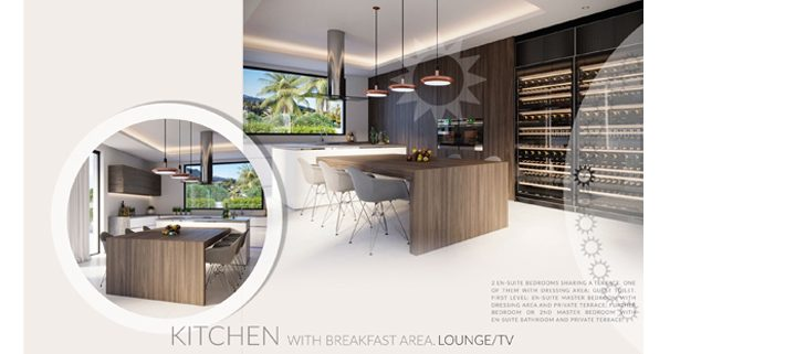 Infografia de cocina y diseño de anuncio para publicidad de inmueble en Guadalmina Baja