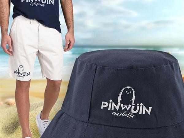 gorra, pantalon y camiseta merchandising
